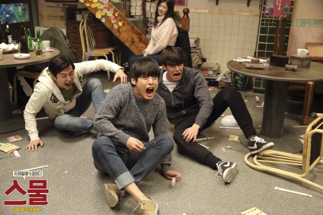 "From left: Lee Jun-ho, Kang Ha-neul and Kim Woo-bin in comedy flick ""Twenty."" (NEW)"