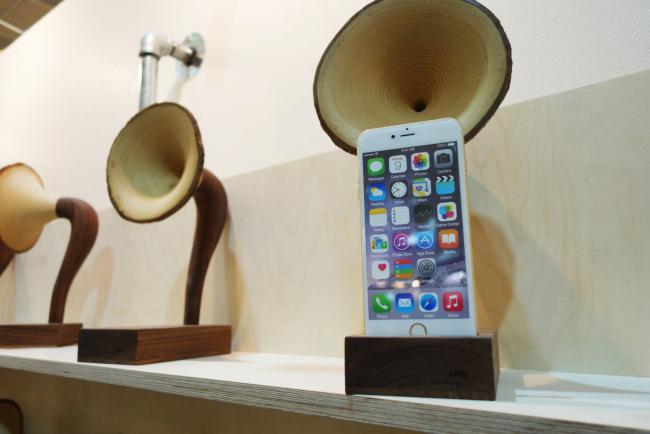 Wooden horn speakers by MiW woodworks (Rumy Doo/The Korea Herald)