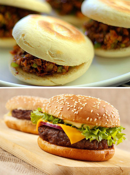 Rou jia mo (top) and a hamburger. (China Daily)