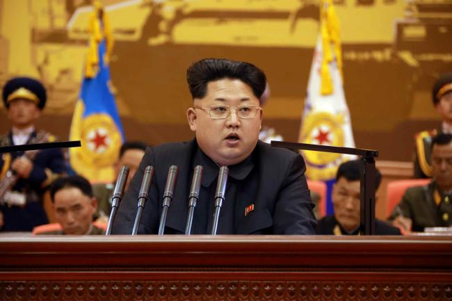 N.K. leader Kim Jong-un gives a speech in Pyongyang. Yonhap