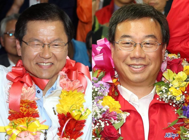 Independent Chun Jung-bae (left) and the Saenuri Party`s Shin Sang-jin celebrate after their wins. Yonhap