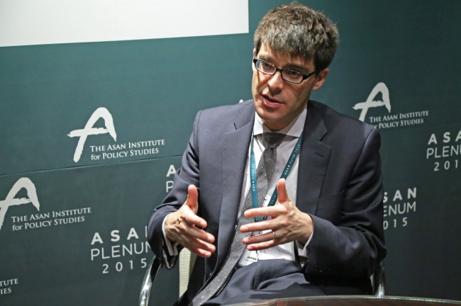 James Acton, codirector of the nuclear policy program at the Carnegie Endowment for International Peace, speaks during an interview with The Korea Herald on the sidelines of the Asan Plenum hosted by the Asan Institute for Policy Studies in Seoul last week. (Asan Institute for Policy Studies)