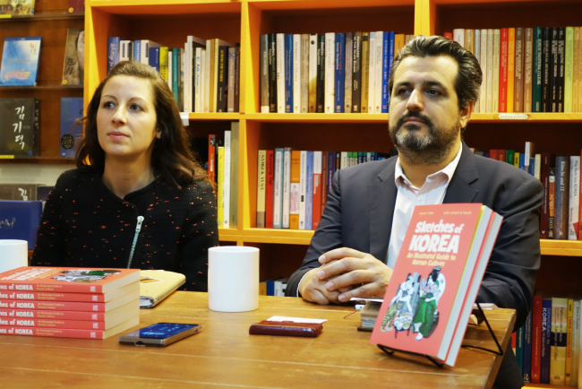 "Elodie Dornand de Rouville (left) and Benjamin Joinau discuss their new book, ""Sketches of Korea,"" at a news conference Wednesday at the Seoul Selection shop in Jongno-gu. (Rumy Doo/The Korea Herald)"