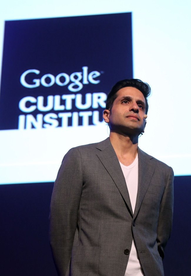 Amit Sood, director of the Google Cultural Institute, speaks during the press conference announcing partnership with 10 Korean museums in Seoul on Thursday. (Yonhap)
