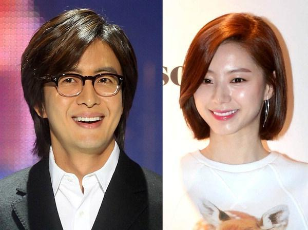 Korean actors Bae Yong-joon (left) and Park Soo-jin. (Yonhap)