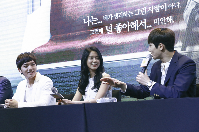 Yeo Jin-goo (from left), Seolhyun and Lee Jong-hyun speak during a press event at GLAD Hotel in Yeongdeungpo on Tuesday. (KBS)