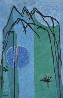 """Montagne Bleue (Blue Mountain)"" by Kim Whanki (Yonhap)"