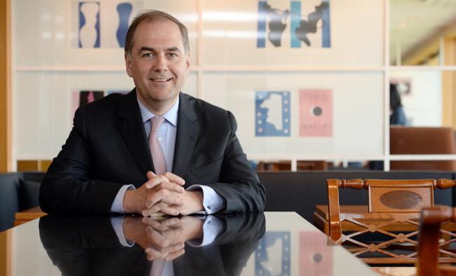 Johannes Baillou, chairman of E. Merck KG, speaks during an interview with The Korea Herald in Seoul. (Ahn Hoon/The Korea Herald)