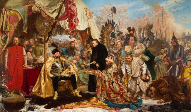 """Stefan Batory at Pskov,"" 1870-1872 by Jan Matejko. (The Royal Castle in Warsaw)"