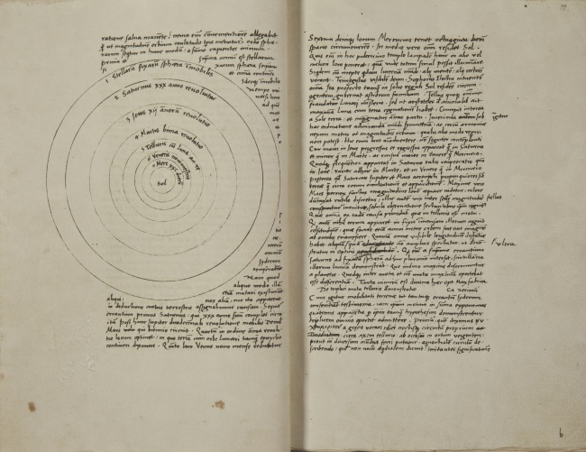 "A copy of Nicolaus Copernicus' script of ""De Revolutionibus Orbium Coelestium (On the Revolutions of the Heavenly Spheres)."" (Jagiellonian University Museum in Krakow)"