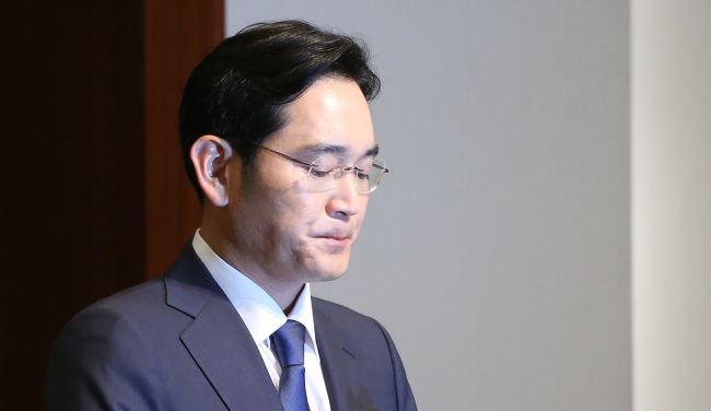 Samsung Electronics vice chairman Lee Jay-yong speaks during a press conference held at the company's headquarters in southern Seoul on Tuesday. Yonhap