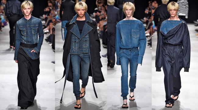 Models present creations of Korean designer Juun.J during the 2016 spring-summer collection during Paris Fashion Week on Friday. Inspired by naval uniforms, the collection, held at Palais de Tokyo, presented 36 pieces that spun a new interpretation on classic tailoring by incorporating wool and denim into oversized silhouettes. The Juun.J show was attended by some 600 fashion experts, including major buyers from SAKS New York, Paris' Galerie Lafayette and London's Harrods. Juun.J has been participating in the Paris collection since fall 2007. (Cheil Industries)