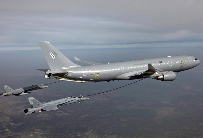 Airbus' A330 MRTT tanker engages in an aerial refueling mission. (Airbus)