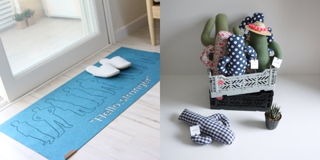 A floor mat by HuePlane (left) and stuffed toys by Douxreve (Hi Design Festival)