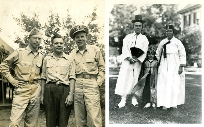 3rd generation: Richard (far left) in uniform and his brothers John and Horace. (right) / 1st generation: Horace Underwood and his wife Ethel with son Horace (left) (Courtesy of the Underwood family collection)