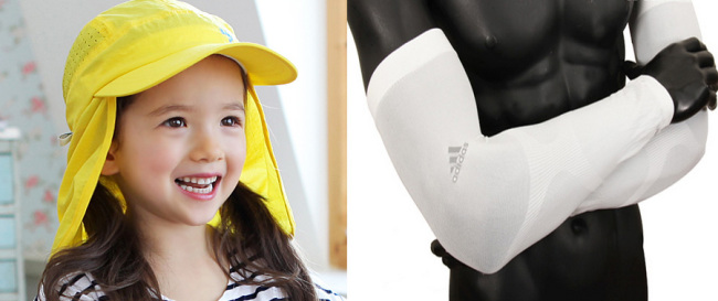(Left) A child in a Baby Banz flap cap, which covers the nape of the neck (Baby Banz Korea); Arm sleeves (Adidas)
