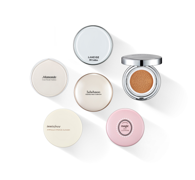 Cushion technology-applied compact products from AmorePacific's in-house brands including, Laneige, Sulwhasoo and Mamonde (AmorePacific)