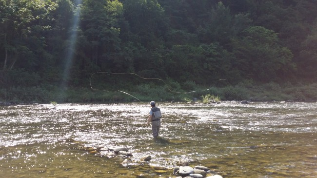Fly fishing in Pyeongchang River (Park Hyong-ki/The Korea Herald)