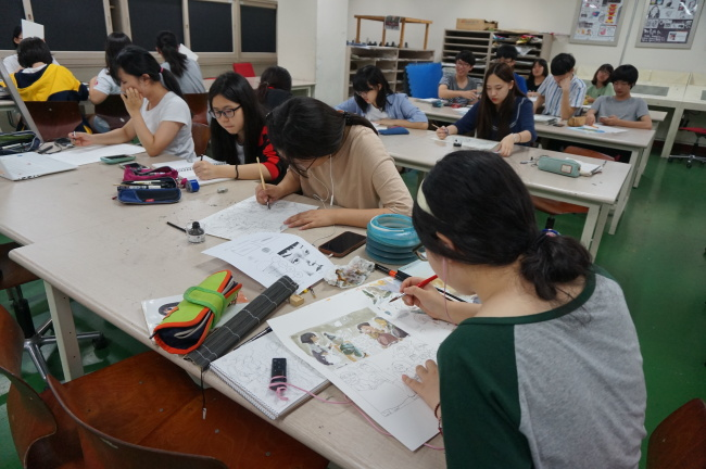 Most of the day at KAHS is devoted to hands-on skills labs and projects. (Won Ho-jung/The Korea Herald)
