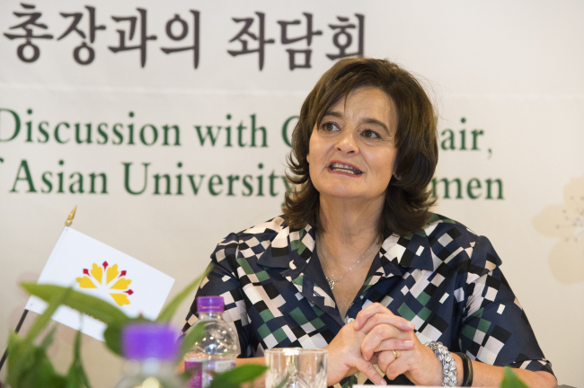 Blair speaks during a table discussion at Ewha Womans University on Wednesday. (Ewha Womans University)