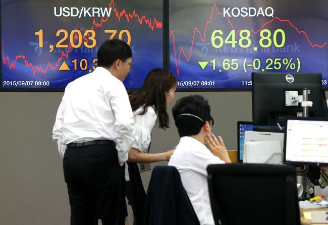 Currency dealers look at indices at KEB Hana Bank on Monday. (Yonhap)