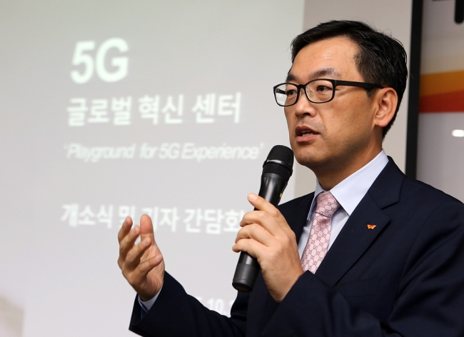 SKT CTO Choi Jin-sung delivers a speech at the opening ceremony of the firm's R&D center 5G Playground in Bundang, Gyeonggi Province, on Thursday. (SKT)
