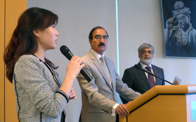 From left: Pakistani Embassy secretary Anna Kim, Pakistan Tourism Development Corporation managing director Kabir Ahmad Khan and Pakistani Ambassador Zahid Nasrullah Khan speak at a press conference on Nov. 9 to promote the Gandhara Civilization. Joel Lee/The Korea Herald