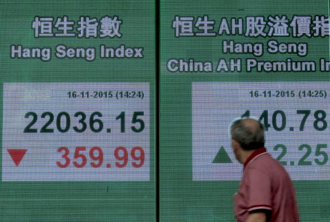A man walks past a bank electronic board showing the Hong Kong share index in Hong Kong Monday. AP-Yonhap News