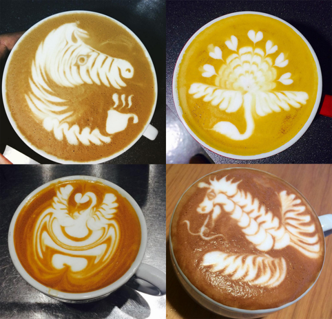 Caleb Cha's latte art: (Clockwise)