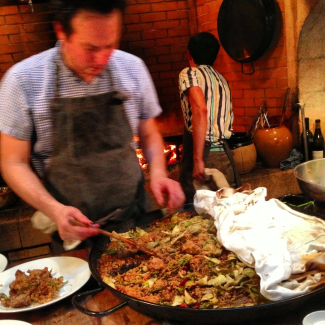 Chez Panisse alum Russell Moore's California-based Camino serves up a Spanish-style paella that uses kimchi in place of tomato and saffron. (Allison Hopelain)