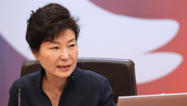 President Park Geun-hye delivers remarks during a Cabinet meeting on Tuesday. Yonhap