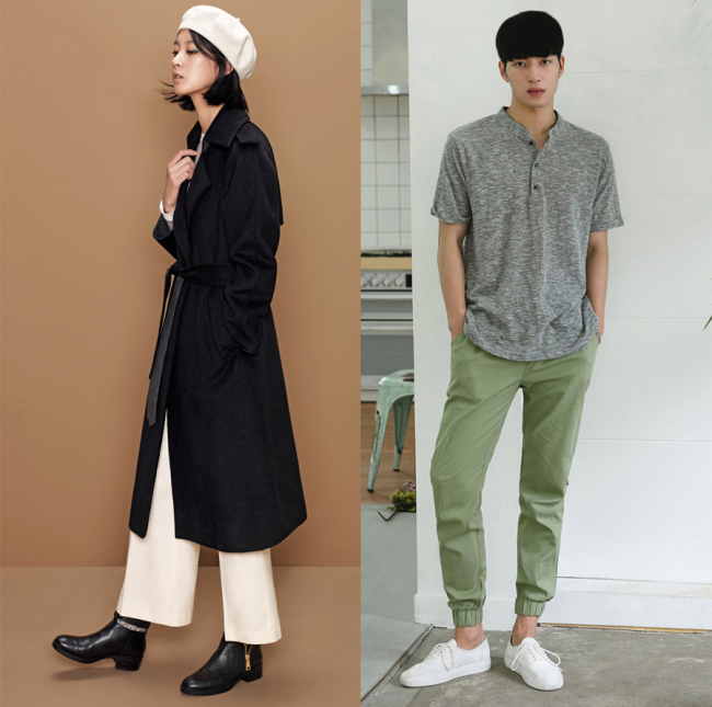 Left) Model sporting long coat and wide pants from clothing brand 8seconds (Samsung C&T Fashion); (Right) Model sporting khaki jogger pants from Style Men (Lotte.com)