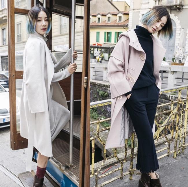 This season's knee-length coats from contemporary womenswear brand Kuho (Samsung C&T Fashion)