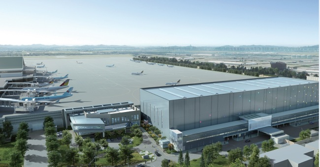 An artist's rendering of the Business Aviation Center at Gimpo International Airport, which will open in April. Gimpo Airport