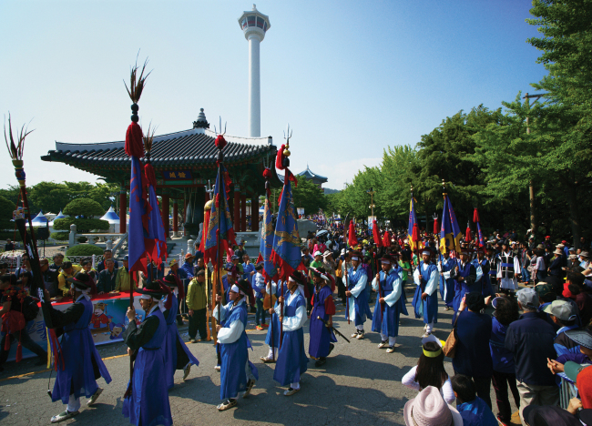 A reenactment of Joseon Tongsinsa at a festival in Busan (Korea Tourism Organization)
