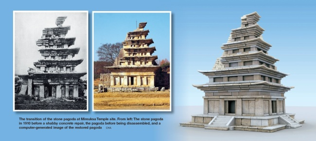 The transition of the stone pagoda at Mireuksa Temple site. From left: The stone pagoda in 1910 before a shabby concrete repair, the pagoda before being disassembled, and a computer-generated image of the restored pagoda (Cultural Heritage Administration)