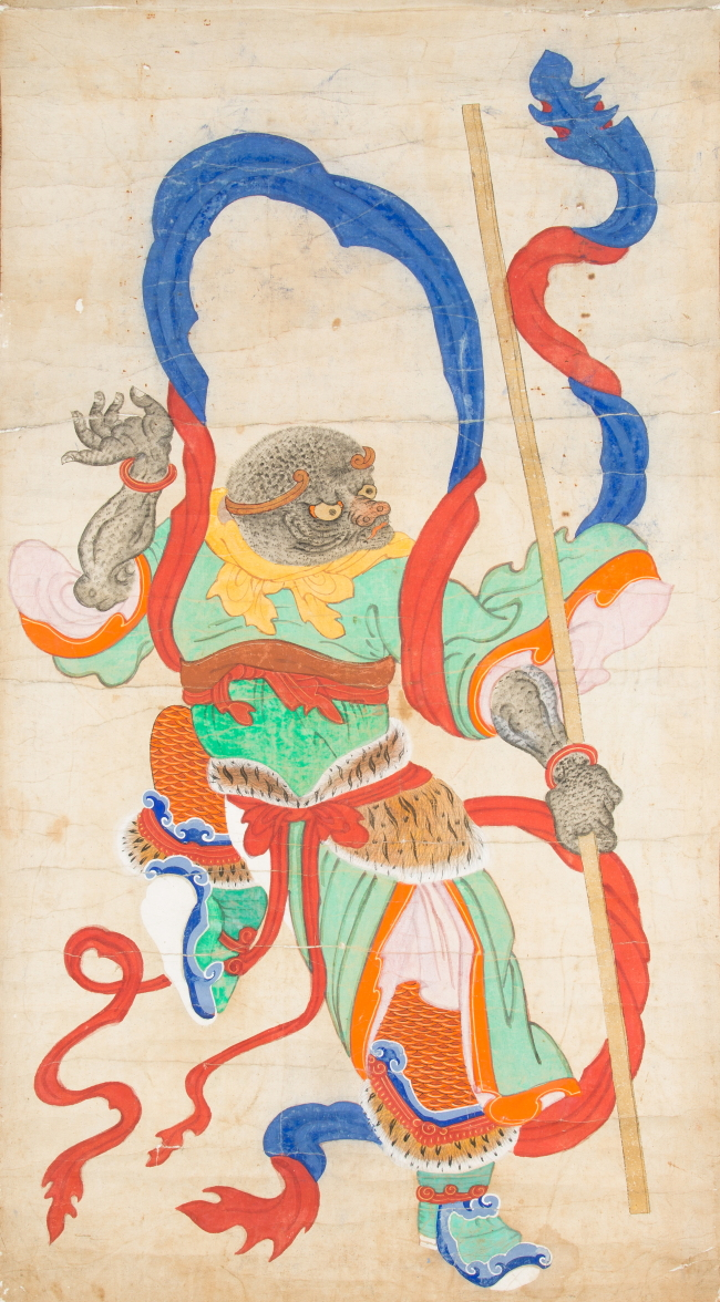 "The monkey from ""Sibijibeon,"" a Buddhist hanging scroll painting of 12 zodiac animal deities (National Folk Museum of Korea)"
