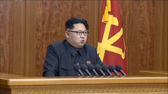 North Korean leader Kim Jong-un delivers his New Year`s speech on Friday. (Yonhap)