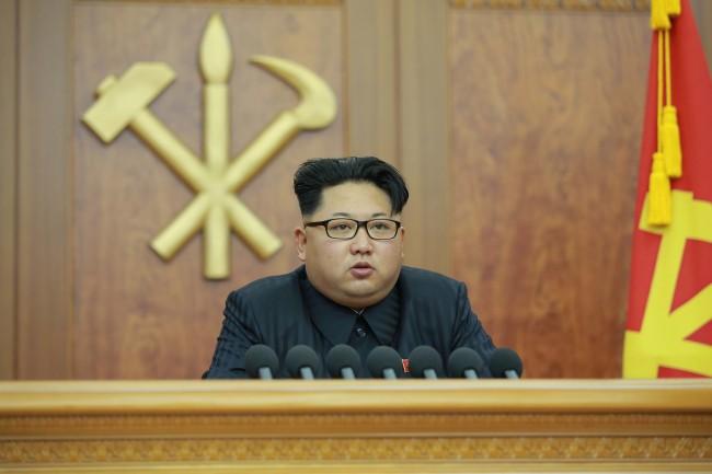 North Korea leader Kim Jong-un delivers his New Year`s address. (Yonhap)