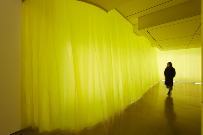 """Temperature,"" an installation of yellow vinyl curtains by Park Ki-won (313 Art Project)"