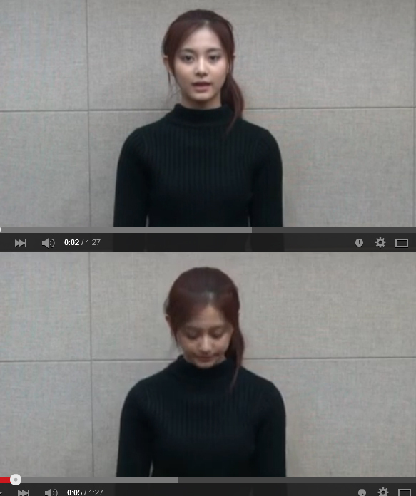 JYP's K-pop star Tzuyu apologizes to China in a YouTube video posted Friday for waving a Taiwanese flag. (Yonhap)