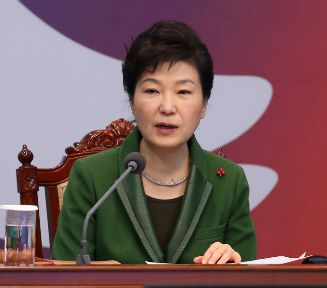 President Park Geun-hye presides over the Cabinet meeting at Cheong Wa Dae, Tuesday. (Yonhap)