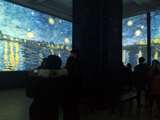 "Impressionist masterpieces made into media art play inside Cultural Station Seoul 284 for the exhibition ""Van Gogh Inside: Festival of Light and Music"" (Media N Art)"