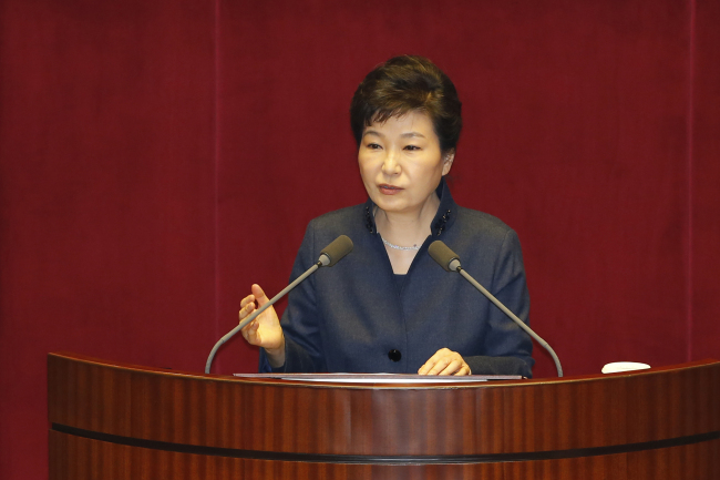 President Park Geun-hye addressed the National Assembly on Tuesday. (Yonhap)