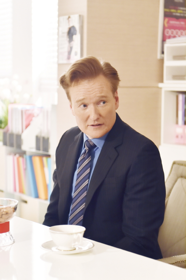 Conan O'Brien visits the MBC headquarters in Seoul on Tuesday. (MBC)
