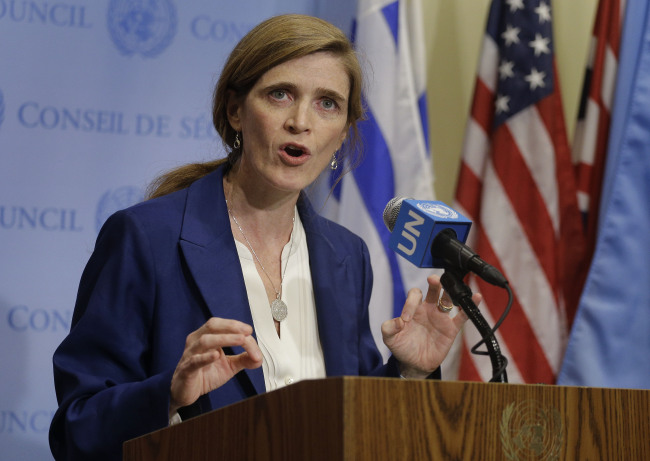 U.S. Ambassador to the United Nations Samantha Power (Yonhap)