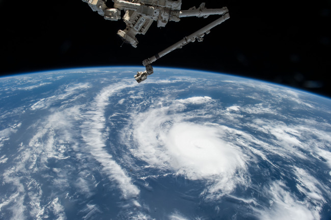 This Aug. 20, 2015 photo made available by NASA shows Hurricane Danny as the International Space Station orbits over the central Atlantic Ocean. (NASA)