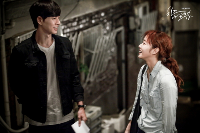 """Park Hae-jin (Yoo Jung) and Kim Go-eun (Hong Seol) star in tvN's drama series """"Cheese in the Trap."""" (tvN)"""