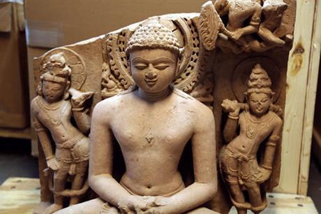 An Indian statue, believed to be from the 8th and 10th centuries A.D., that authorities say was stolen and smuggled out of India. (AP)