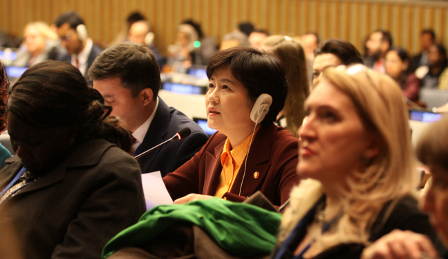 South Korea`s Gender Minister Kang Eun-hee attends a U.N. meeting in New York. Yonhap